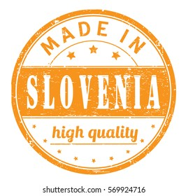 """rubber stamp with text """"made in Slovenia, high quality"""" on white"""