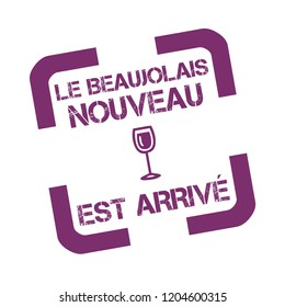 Rubber stamp with text new Beaujolais wine in French