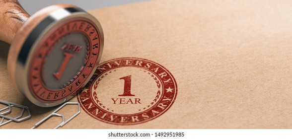 Rubber stamp with the text one year anniversary printed on a brown paper. Celebration card background. 3d illustration
