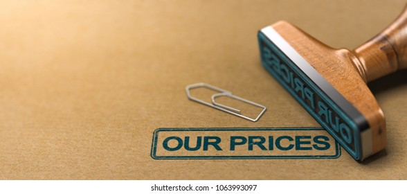 Rubber stamp with the text our prices over brown paper background. 3D illustration