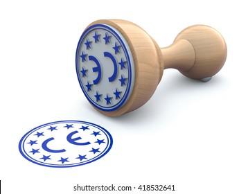 Rubber stamp-CE marking - 3d illustration