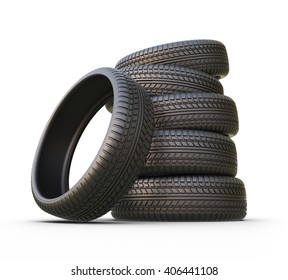 Rubber tire or tyre. 3D icon isolated