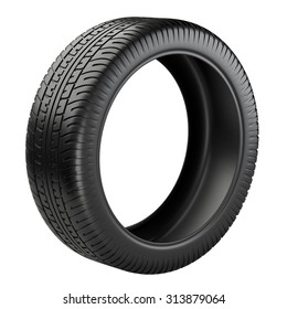Rubber tire. Wheel. 3D image isolated on a white background