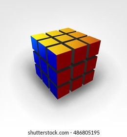 Rubic cube 3D Illustration