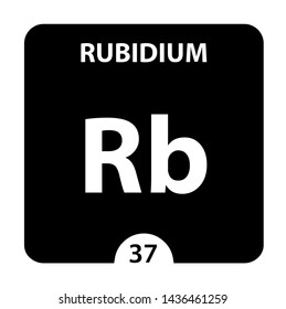 Rubidium Rb chemical element. Rubidium Sign with atomic number. Chemical 37 element of periodic table. Periodic Table of the Elements with atomic number, weight and Rubidium symbol. Laboratory and