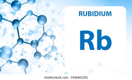Rubidium Rb, chemical element sign. 3D rendering isolated on white background. Rubidium chemical 37 element for science experiments in classroom science camp