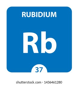 Rubidium symbol. Sign Rubidium with atomic number and atomic weight. Rb Chemical element of the periodic table on a glossy white background. Experiments in the laboratory. science ant technology