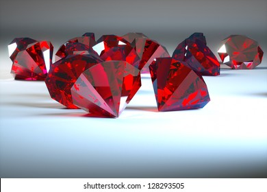 rubies on a gray background, the foreground