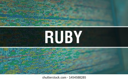 RUBY with Binary code digital technology background. Abstract background with program code and RUBY. Programming and coding technology background. RUBY with Program listing