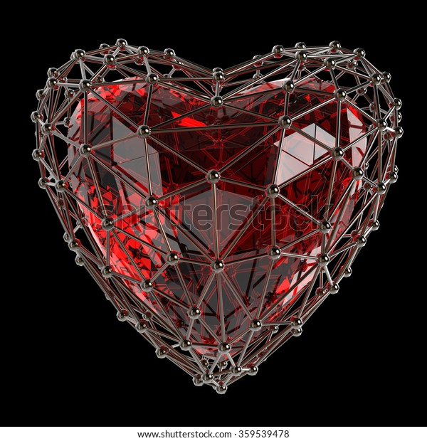Ruby Crystal Low Poly Shiny 3d Stock Illustration 359539478