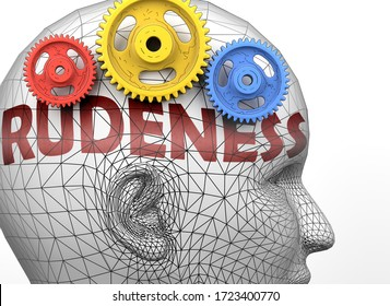 Rudeness and human mind - pictured as word Rudeness inside a head to symbolize relation between Rudeness and the human psyche, 3d illustration