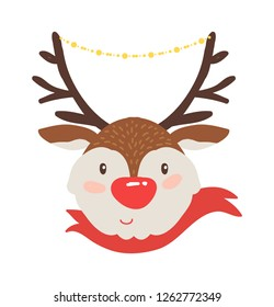 Rudolf deer in red scarf icon isolated on white background. raster illustration with smiling animal with brown horns decorated with shiny garland