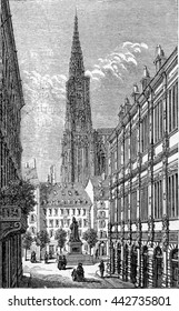 Rue des Grandes Arcades in Strasbourg, Alsace, France. From Chemin des Ecoliers, vintage engraving, 1876.