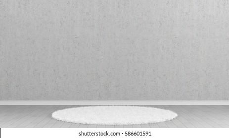 rug in empty white room with concrete walls 3d rendering