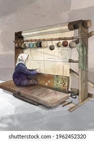 rug weave loom, carpet weaver turkish woman, illustration