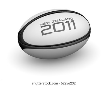 Rugby ball with New Zealand 2011 on it.