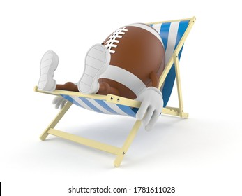 Rugby character lying on deck chair isolated on white background. 3d illustration