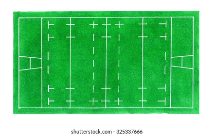 Rugby field. Hand-drawn green rugby field top view on the white background. Real watercolor drawing
