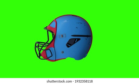 Rugby helmet on a green screen background. 3d illustration.