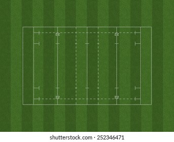 A rugby pitch marked in white on green grass