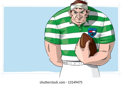 Rugby player with ball