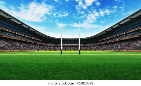rugby stadium building with green grass at daylight, sport theme three dimensional 3D illustration