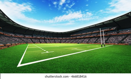 rugby stadium with fans and grass pitch at daylight, sport theme three dimensional 3D illustration