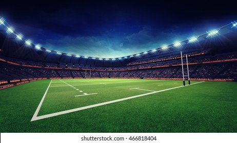rugby stadium with green grass playground, sport theme three dimensional 3D illustration