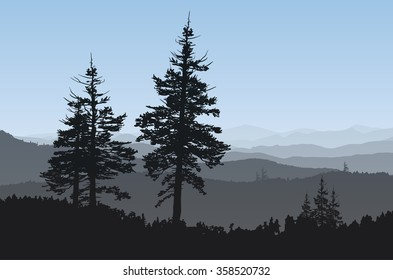 Rugged mountainside with evergreen trees in the foreground.