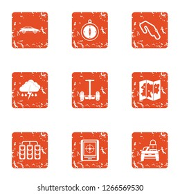 Rugged terrain icons set. Grunge set of 9 rugged terrain icons for web isolated on white background