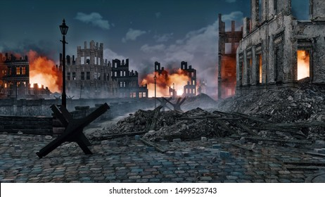 Ruined after the bombing of the World War 2 european city with burning building ruins and street barricade on foreground at night. With no people historical 3D illustration.
