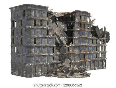 Ruined building isolated on white background 3D Illustration