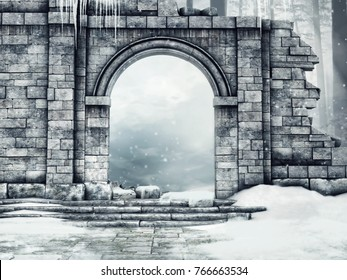 Ruined castle gate with snow and icicles in a winter forest. 3D illustration.