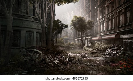 Ruined city street with destroyed car and trees. 3D illustration.