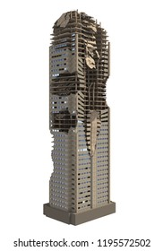 Ruined Skyscraper Isolated On White 3D Illustration