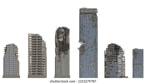 Ruined Skyscrapers Isolated On White 3D Illustration