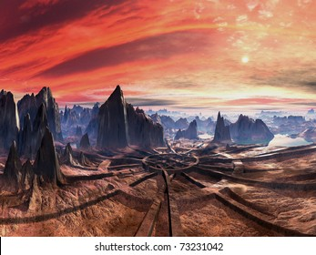 Ruins of Ancient Alien Landing Site at Sunset