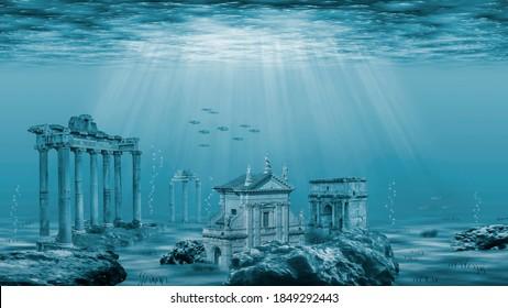 Ruins of the Atlantis civilization. Underwater ruins