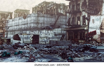 ruins of a city . 3d illustration concept