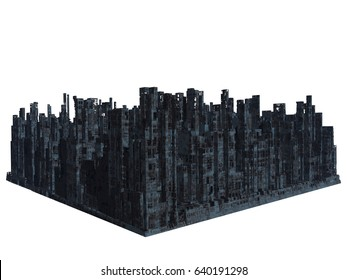 Ruins of the city, 3D render
