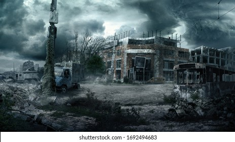 Ruins of a city. Apocalyptic landscape.