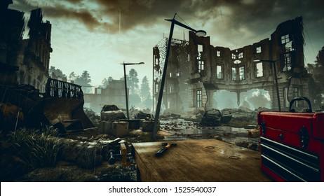 Ruins of a city. Apocalyptic landscape 3d render , 3d illustration concept