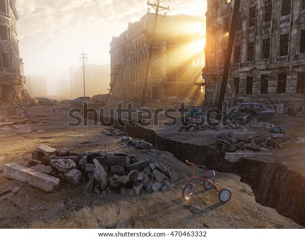 Ruins City Crack Street 3d Illustration Stock Illustration