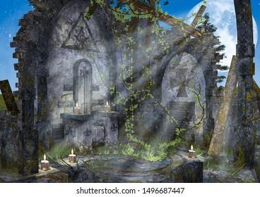 The ruins of a Freemasonry temple illuminated by the full moon. 3D Illustration.