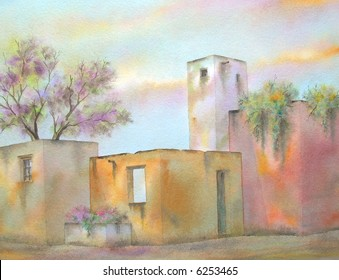 "Ruins of an Old Mexican Hacienda, Oaxaca, Mexico # 94-089; 28x43 cm. = 11""x17"""