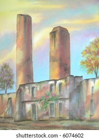 "Ruins of the Old Mexican Hacienda of San Nicolas, Morelos, Mexico; 28x43 cm. = 11""x17"" # 97-077"