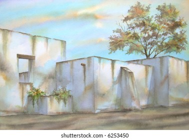 "Ruins of an Old Mexican Hacienda, Tlaxcala, Mexico # 93-007; 50x70 cm. - 20"" x 24"""
