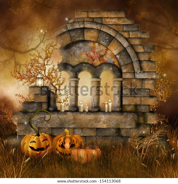 Ruins on a meadow with candles and Halloween pumpkins