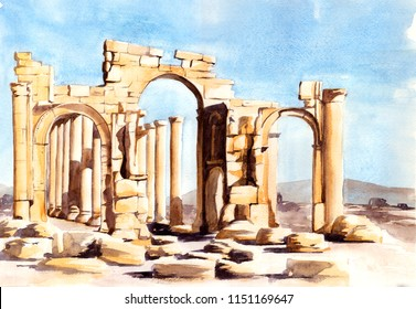 Ruins of the Palmyra - Watercolor illustration for your project
