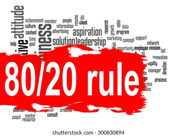 Rule 80 20 word cloud with red banner image with hi-res rendered artwork that could be used for any graphic design.